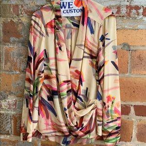 Anthropologie brush strokes blouse